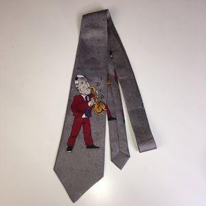 Bill Clinton Jazz Saxophone Men's Tie Grey